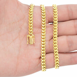 """10K Yellow Gold Solid 2.7mm-10mm Miami Cuban Link Chain Pendant Necklace 18""""-30"""""""