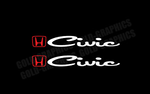 Decal Sticker For Honda Civic RED/WHITE si vtec jdm turbo