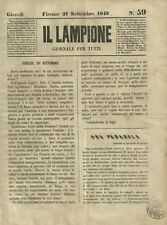 Il Lampione Carlo Collodi Giornale Satirico Risorgimento n°59  21 Settembre 1848