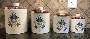 vintage Ransburg tin canister set of 4 white turquoise floral copper lids