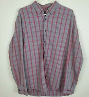 J CREW Men's Oxford Shirt Button Down size L - Gray Red Plaid Long Sleeve MINT