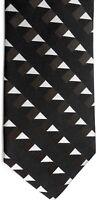 "Jhanes Barnes Men's Silk Tie 58"" X 3.75"" Black w/ silver Geometric"