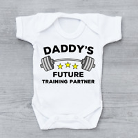 Daddy's Future Training Partner Gym Unisex Baby Grow Bodysuit