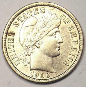 1900-S Barber Dime 10C - Choice AU / UNC Details - Rare Date - Nice Coin!