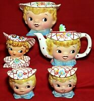 Vintage Lot Miss Dainty Lefton Cookie Jar Teapot Salt Pepper Shakers Sugar Bowl
