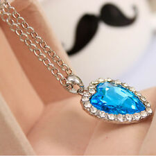 Beauty Neoglory Titanic Ocean Heart Pendant Necklace Crystal Rhinestone Jewelry