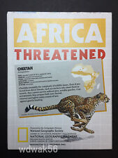 Original 1990-12 December National Geographic Map Sup Africa / Africa Threatened