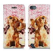 Apple iPod Touch 5 5th & Touch 6 6th Generation Leather Wallet Phone Case Cover Dog Listing to Music - Headphone Relax Entertain