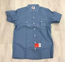 New Dickies Men's Blue Short Sleeve Work Shirt Cotton Polyester Size Medium