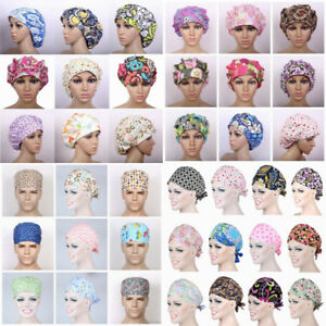 Womens/Mens Florals Printed Cap Scrub Hat/Cap Head Wear Adjustable Accessories