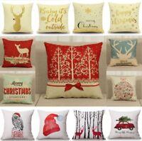 New Christmas Xmas Linen Cushion Cover Throw Pillow Case Home Decor Festive Gift