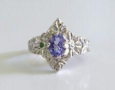 GENUINE! RARE 0.53cts! Tanzanite & Emerald Ring Solid Sterling Silver 925!!