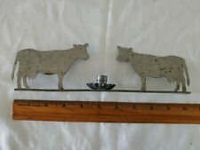 Tin Double Cow Candle Holder- 10 Inches long- Farmhouse Style- Reduced Last Time