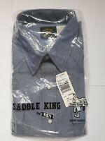Saddle King Western Shirt Short Sleeve SIZE  17½ R (# RN17754 ) EXTRA LONG TAILS