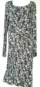 Motherhood Women's Maternity Dress Long Sleeves Black White Floral Print Sz M