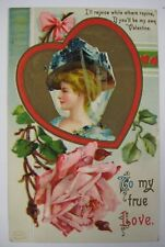 Vintage 1909 Valentine's Day Postcard Antique S. GARRE Schmucker Woman Germany