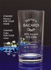 Engraved/Personalised Hiball MUM'S BACARDI AND COKE GLASS Gift For Christmas/2