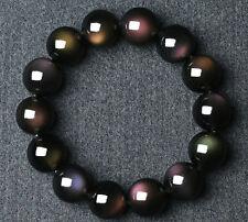 Natural Black Obsidian Rainbow Gemstone Round Beads Power Bracelet AAAA 14 mm