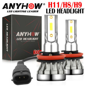 ANYHOW H11 LED Headlight High or Low Beam Bulbs 2400W 330000LM 6000K White 2Pcs