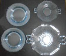 VINTAGE FOSTORIA ELEGANT DEPRESSION GLASS BLUE CAKE PLATTERS + PLATES  10 PCS