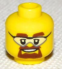 LEGO NEW MINIFIG HEAD WITH GLASSES BROWN BEARD TEACHER POLICE MAN HEAD