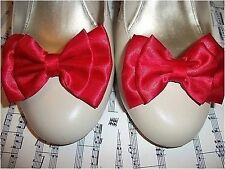 PAIR RED SATIN BOW SHOE CLIPS 40s 50s VINTAGE STYLE VAMP GLAMOUR BOWS HANDMADE