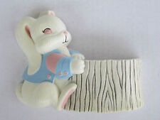 Vtg Burwood Baby Boy Bunny Wall Pocket Decor Accent #3315 Nursery Bath Homco USA