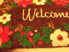 """CHRISTMAS HOLIDAY """"WELCOME"""" DOOR MAT RUG POINSETTIA HOLLY RED HOME"""