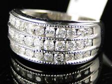 Womens Ladies White Gold 3 Row Diamond Wedding Band Ring 1 Ct