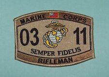United States MARINE CORPS 0311 RIFLEMAN MOS DESERT MILITARY PATCH - SEMPER FI