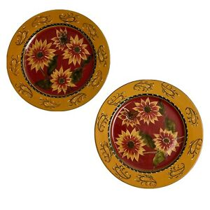Pier 1 Imports Hand Painted Sunflower Terracotta Dinner Plates (Set Of 2)