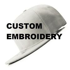 Create Your Custom Personalised Embroidery White FLAT Brim SNAPBACK Cap Hat
