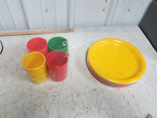 "INGRID LTD Chicago Vintage Plastic Picnic Plates and Cups  ""NOS"" STILL WRAPPED !"