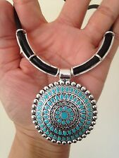 Necklace Silver Turquoise Tribal Hippie Ethnic Boho Bohemian Gypsy N1008