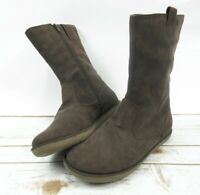 """Lands End Girls Size 5 M Brown Suede Side Zip 10"""" Boots"""
