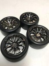 HPI Switch Slick Tires (4) On MX60 10 Spoke Black Chrome Wheel Cup Racer Genuine
