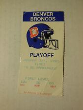 1987 NFL PLAYOFF GAME TICKET STUB BRONCOS vs PATRIOTS (Sec 131, Row 36, Seat 8)