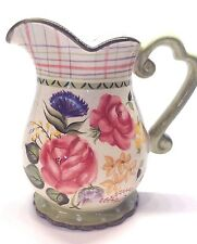 "222 Fifth  ""LAURA"" Large Pitcher Multicolored Floral & Plaid Design. EUC"