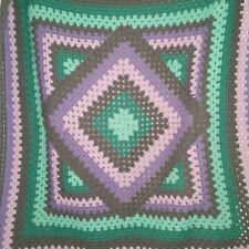 Afghan Purple Teal Gray Square Diamond Lap Blanket Throw Crocheted Geometric
