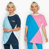 Ellesse Azzurra Cotton Women Retro Oversized T-Shirt in Light Blue & Navy & Pink