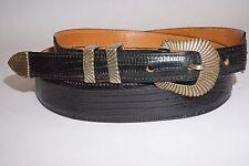 "Sterling Silver Ranger Buckle Set Genuine Lizard Belt 40"" Made in USA Gold Tone"