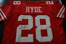 CARLOS HYDE SIGNED SAN FRANCISCO 49ERS CUSTOM RED JERSEY PSA/DNA COA! nfl auto