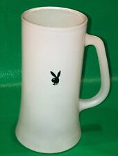 Vintage - Playboy Black Bunny White Frosted Glass Beer Mug 6-1/2""