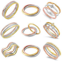 Three Colour Tri Tone Sterling Silver Rose Gold Layered Band Stacking Stack Ring