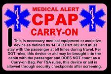 Pink Carry-On CPAP  Bag Tag - TSA - CPAP BiPAP APNEA POC
