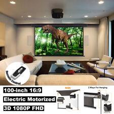 "100"" 16:9 3D 4K Elektrisch Motor Beamer Motorleinwand Home Cinema+ Fernbedienung"