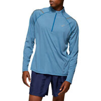 Asics Mens Icon LS 1/2 Zip Running Top - Blue Sports Half Breathable Reflective