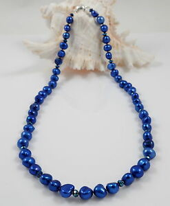 Blue Baroque Freshwater Pearl Necklace & Rhinestone Studded Magnetic Clasp 18''