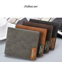 Men's Leather Slim Bifold Credit ID Card Holder Soft Wallet Purse Sale Bill M0Q0
