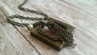 Glass Locket necklace, square, bronze, tassel, handmade,  long chain, picture